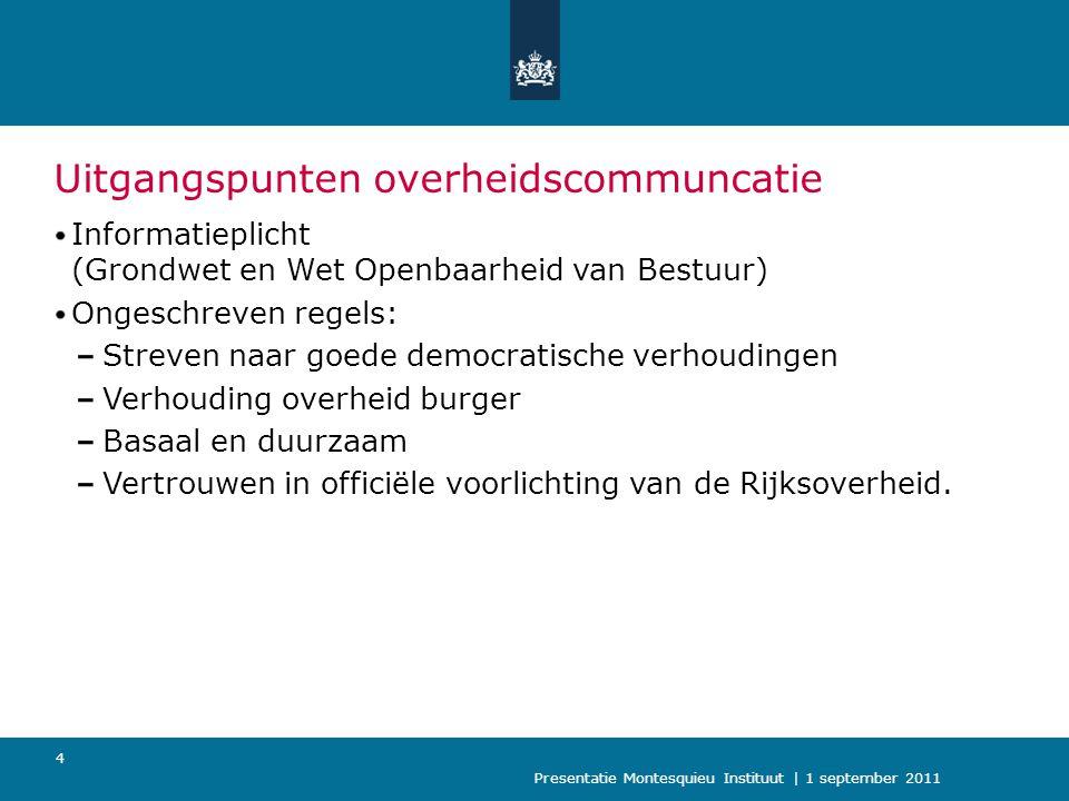 Presentatie Montesquieu Instituut | 1 september 2011 5 Hoofddoel Recht van burgers op communicatie met en informatie van de rijksoverheid.