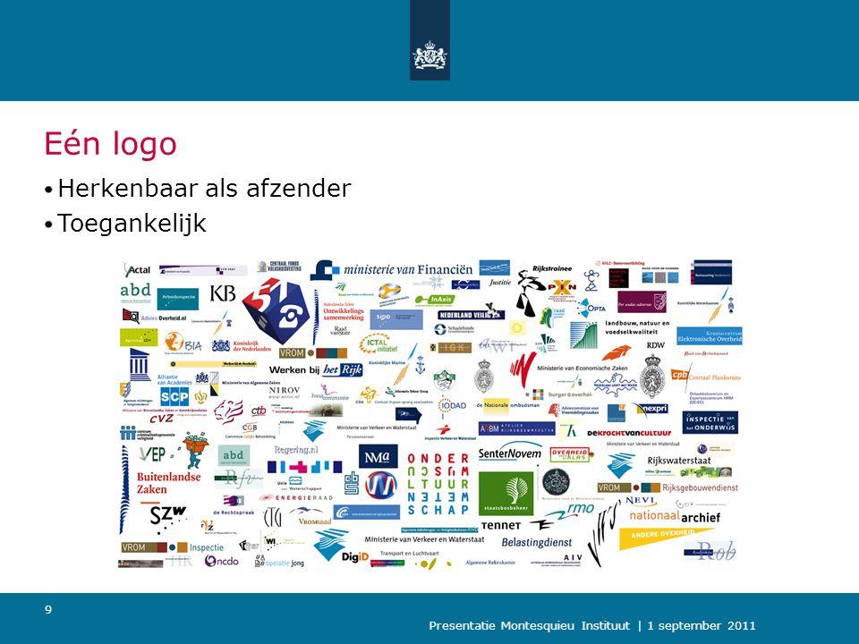Presentatie Montesquieu Instituut | 1 september 2011 10 Eén website: Rijksoverheid.nl Van 16 naar 1 website Van 16 naar 1 redactie Naar 1 systeem en 1 zoekmachine