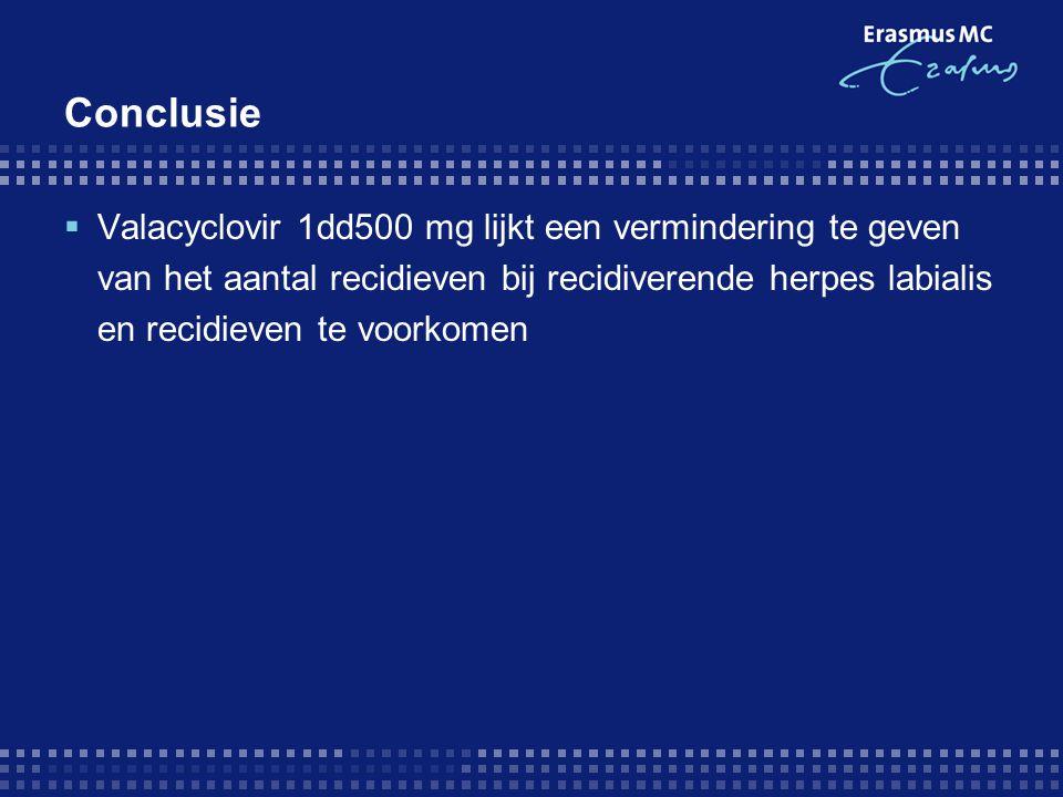 Conclusie  Valacyclovir 1dd500 mg lijkt een vermindering te geven van het aantal recidieven bij recidiverende herpes labialis en recidieven te voorko