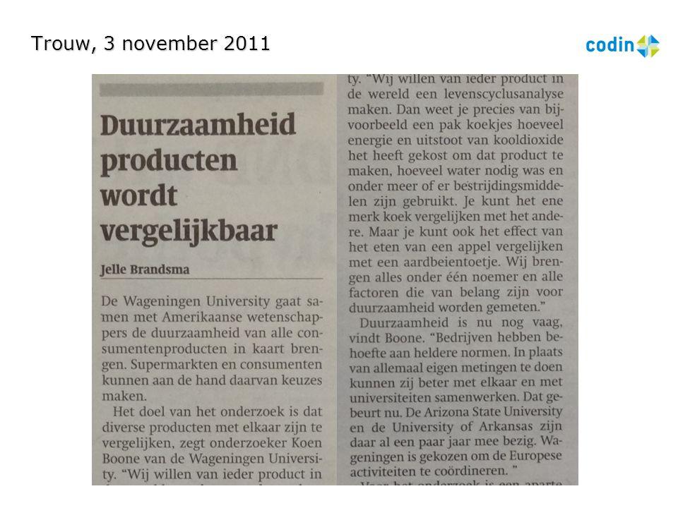 Trouw, 3 november 2011