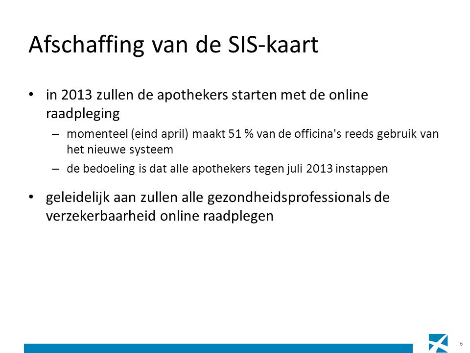 Afschaffing van de SIS-kaart • in 2013 zullen de apothekers starten met de online raadpleging – momenteel (eind april) maakt 51 % van de officina's re