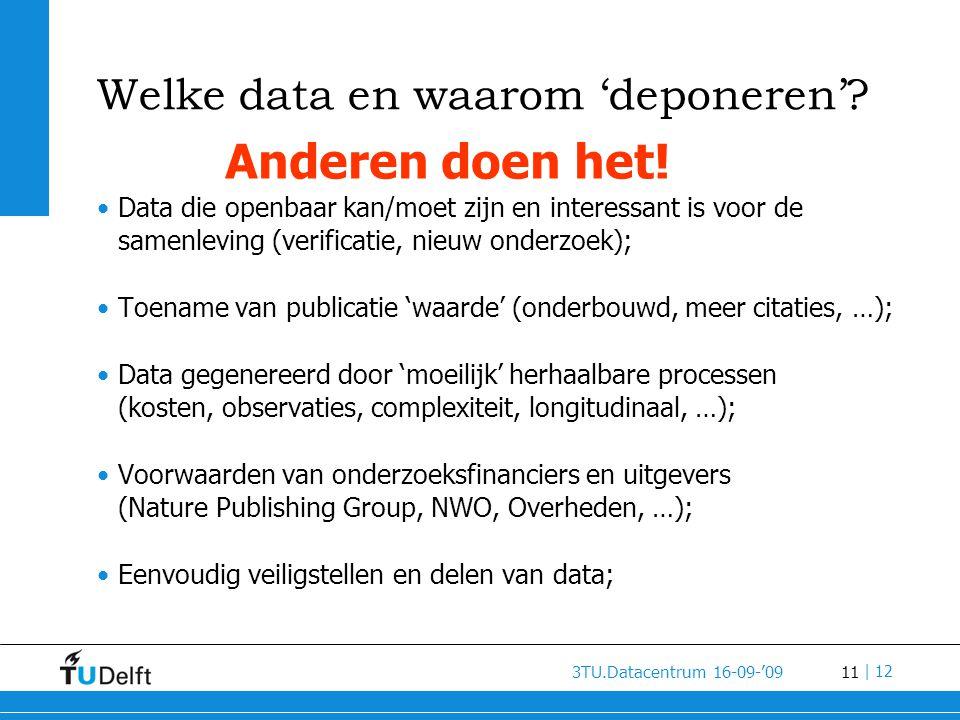 11 3TU.Datacentrum 16-09-'09 | 12 Welke data en waarom 'deponeren'.