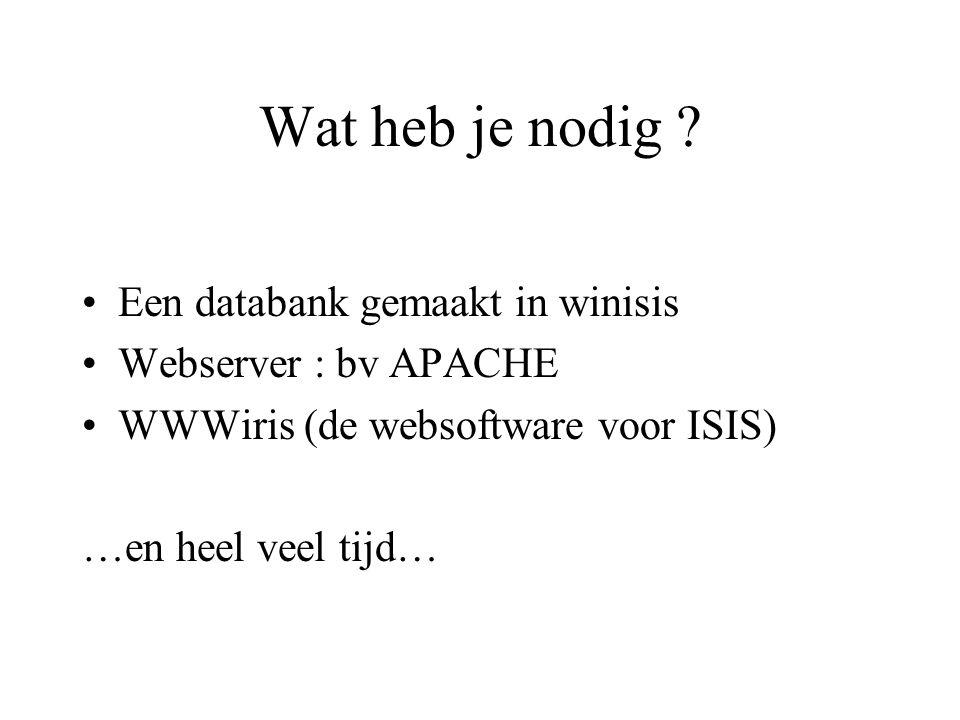 Wat heb je nodig ? •Een databank gemaakt in winisis •Webserver : bv APACHE •WWWiris (de websoftware voor ISIS) …en heel veel tijd…
