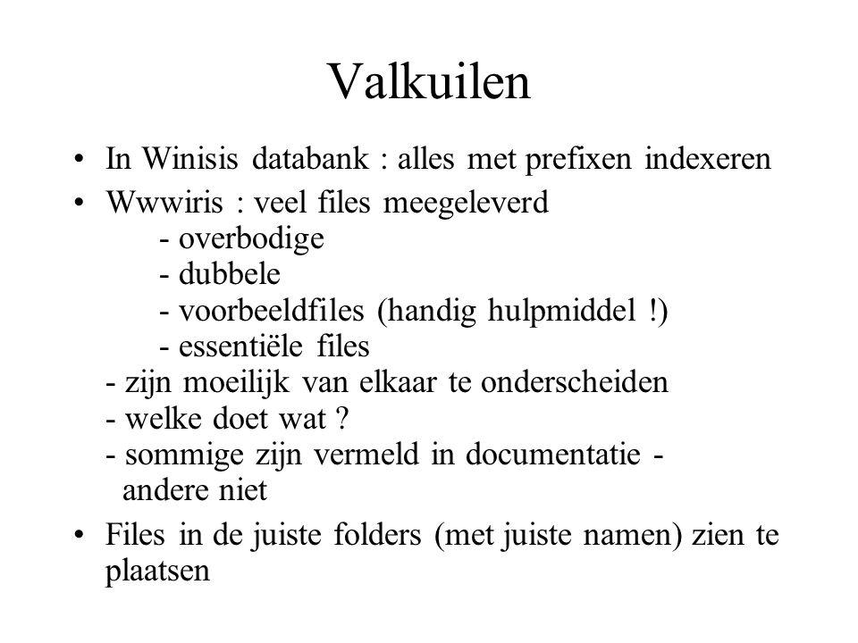 Valkuilen •In Winisis databank : alles met prefixen indexeren •Wwwiris : veel files meegeleverd - overbodige - dubbele - voorbeeldfiles (handig hulpmi