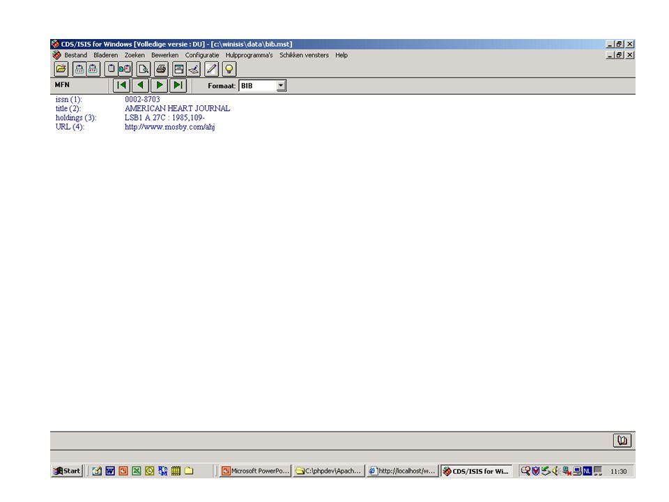 Voorbeeld array (Nederlands) •dbs = new Array(); • dbs[0] = new Array(); • dbs[0][0]=new Array(); • dbs[0][0][0]= BIOMED ; • dbs[0][0][1]=new Array(); • dbs[0][0][2]=new Array(); • dbs[0][0][1][0]= AU= ;dbs[0][0][2][0]= Auteurs ; • dbs[0][0][1][1]= TI= ;dbs[0][0][2][1]= Titel Artikel ; • dbs[0][0][1][2]= JN= ;dbs[0][0][2][2]= Titel Tijdschrift ; • dbs[0][0][1][3]= YR= ;dbs[0][0][2][3]= Jaar ; • dbs[0][0][1][4]= IS= ;dbs[0][0][2][4]= ISSN ; • dbs[0][0][1][5]= KW= ;dbs[0][0][2][5]= Trefwoorden ; • dbs[0][0][1][6]= AB= ;dbs[0][0][2][6]= Samenvatting ; • dbs[0][0][3]=new Array(); • dbs[0][0][3][0]= BIOMbool.fst ; • dbs[0][0][3][1]= BIOMtext.fst ; • dbs[0][0][4]=new Array();dbs[0][0][5]=new Array(); • dbs[0][0][4][0]= biomesh ;dbs[0][0][5][0]= lijst ; • dbs[0][0][4][1]= biomefu ;dbs[0][0][5][1]= lang ; • dbs[0][0][6]= Biomedische databank ; Voegt zelf taalcode toe aan toonformaten