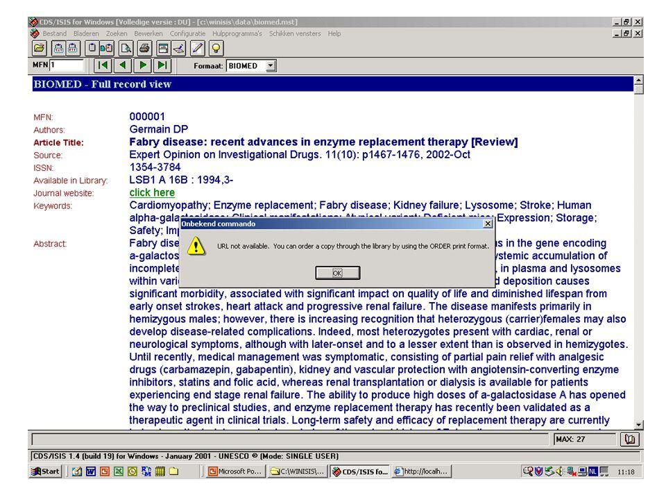 WWWIRIS (vervolg aan te passen files) •Highlighting files - moeten er staan (werkend of niet) - met bepaalde naam DBNBOOL.FST en waarbij DBN = databanknaam DBNTEXT.FSTdus BIOMBOOL en BIOMTEXT •Display files (pft's ofte toonformaten) - met bepaalde naam en voor elke taal : ldbnsh.pft en waarbij l = language (d = dutch) ldbnfu.pftdus dbiomesh en dbiomefu