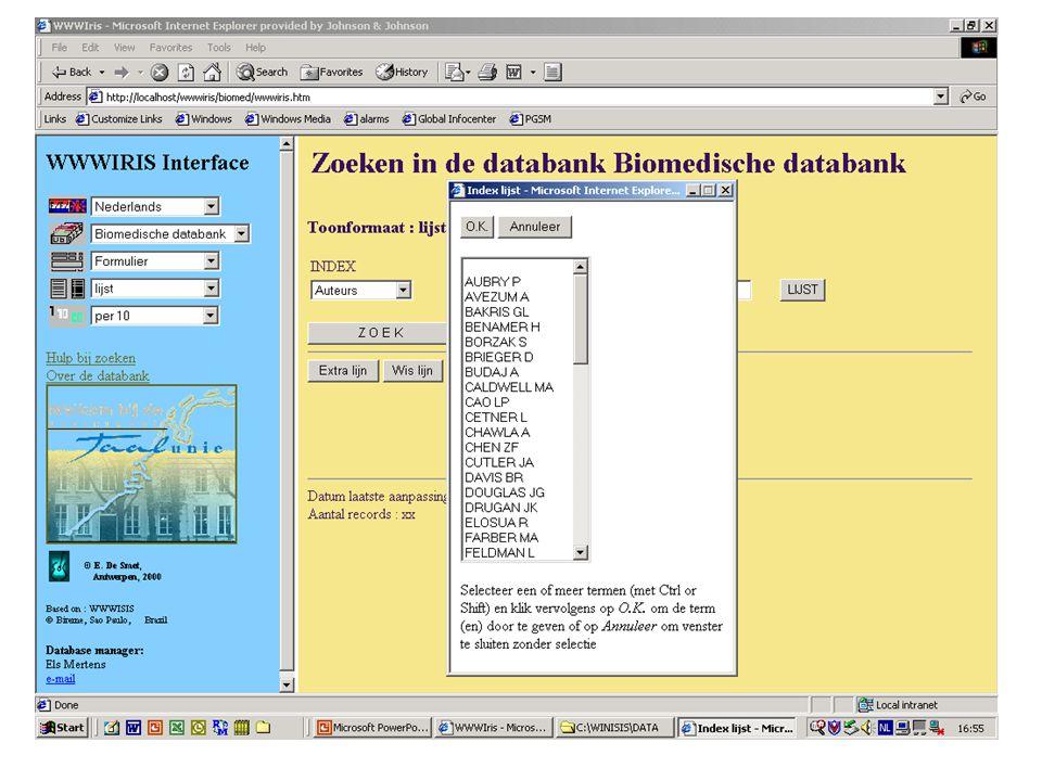 Valkuilen •In Winisis databank : alles met prefixen indexeren •Wwwiris : veel files meegeleverd - overbodige - dubbele - voorbeeldfiles (handig hulpmiddel !) - essentiële files - zijn moeilijk van elkaar te onderscheiden - welke doet wat .