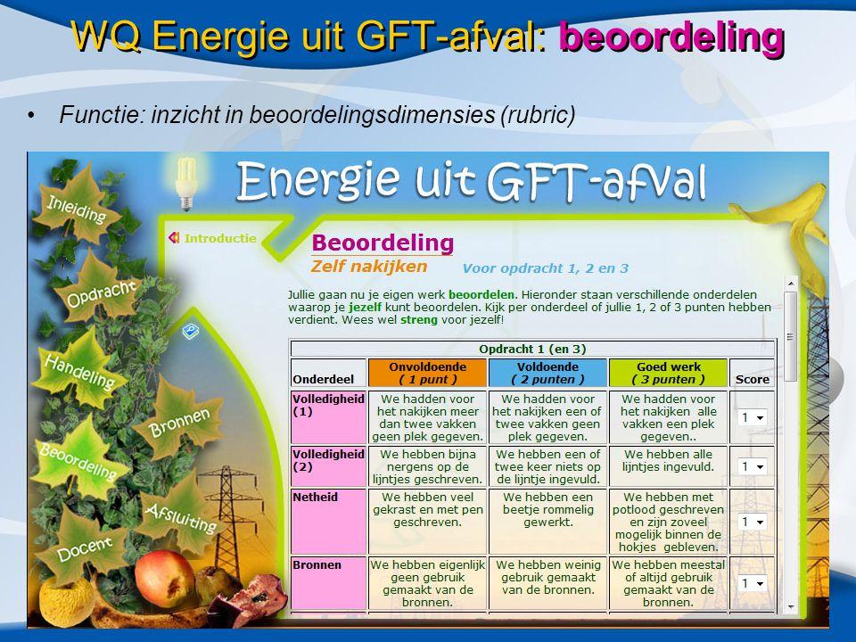 •Functie: inzicht in beoordelingsdimensies (rubric) WQ Energie uit GFT-afval: beoordeling