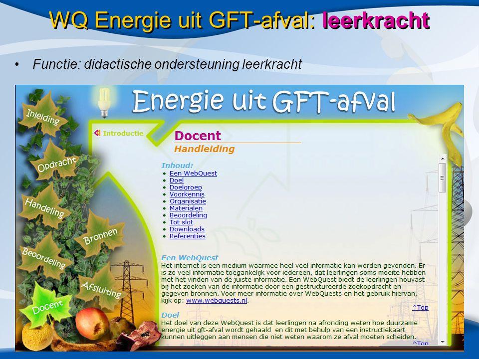 WQ Energie uit GFT-afval: leerkracht •Functie: didactische ondersteuning leerkracht