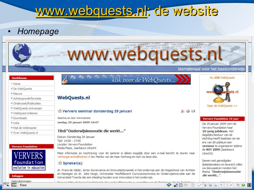 www.webquests.nl: de website •Homepage