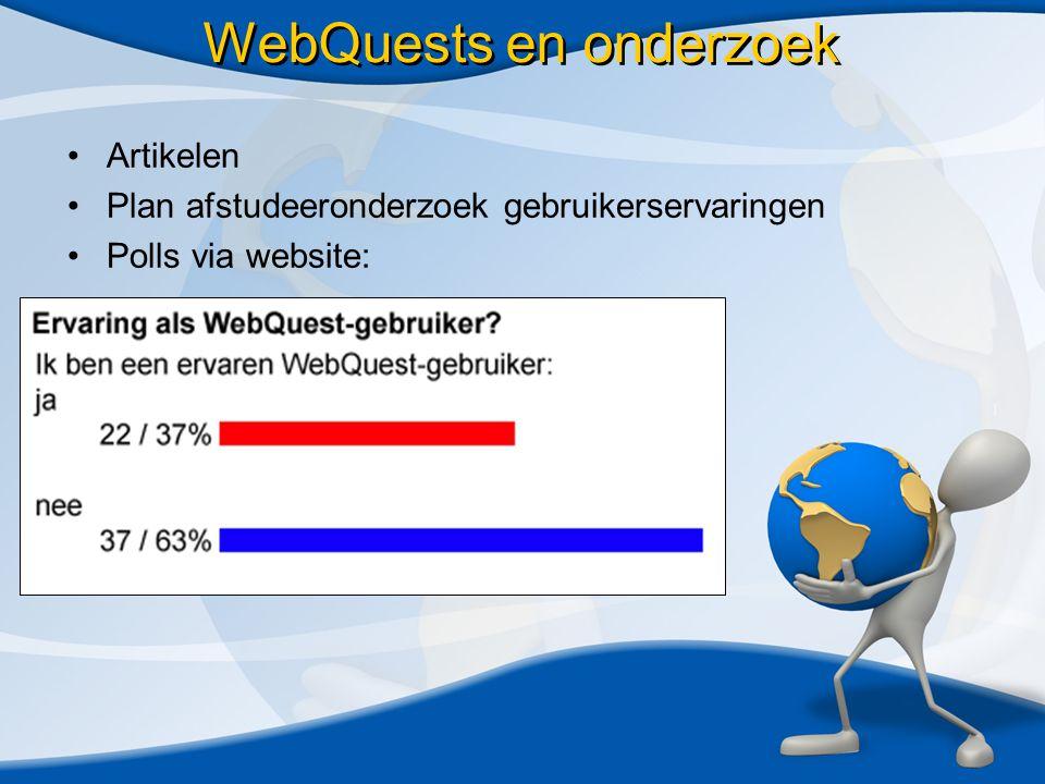 WebQuests en onderzoek •Artikelen •Plan afstudeeronderzoek gebruikerservaringen •Polls via website: