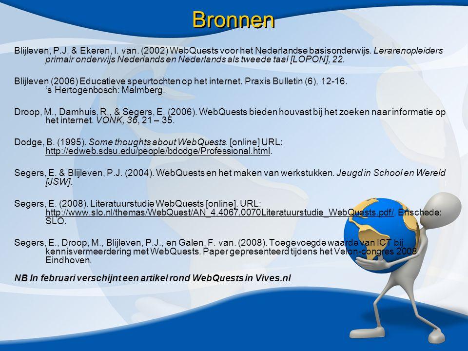 Bronnen Blijleven, P.J. & Ekeren, I. van. (2002) WebQuests voor het Nederlandse basisonderwijs.