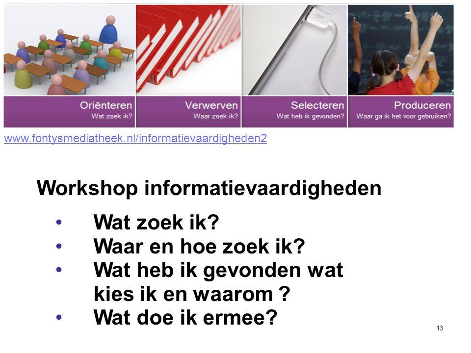 13 • Wat zoek ik? • Waar en hoe zoek ik? • Wat heb ik gevonden wat kies ik en waarom ? • Wat doe ik ermee? Workshop informatievaardigheden www.fontysm