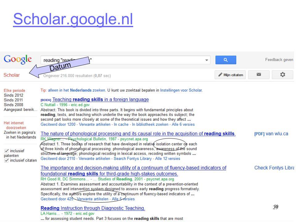 29 Scholar.google.nl 29 Datum