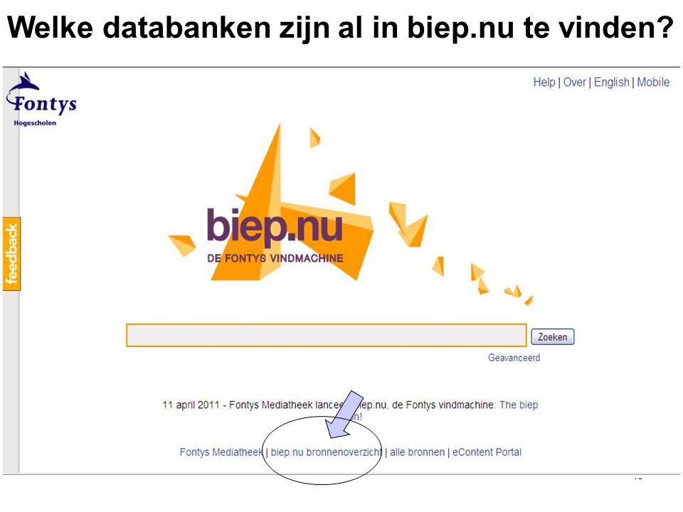 46 Welke databanken zijn al in biep.nu te vinden?