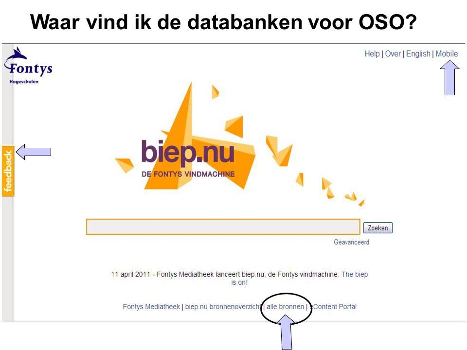 Waar vind ik de databanken voor OSO?