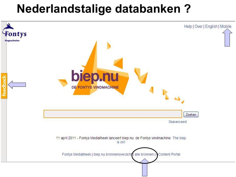 Nederlandstalige databanken ?
