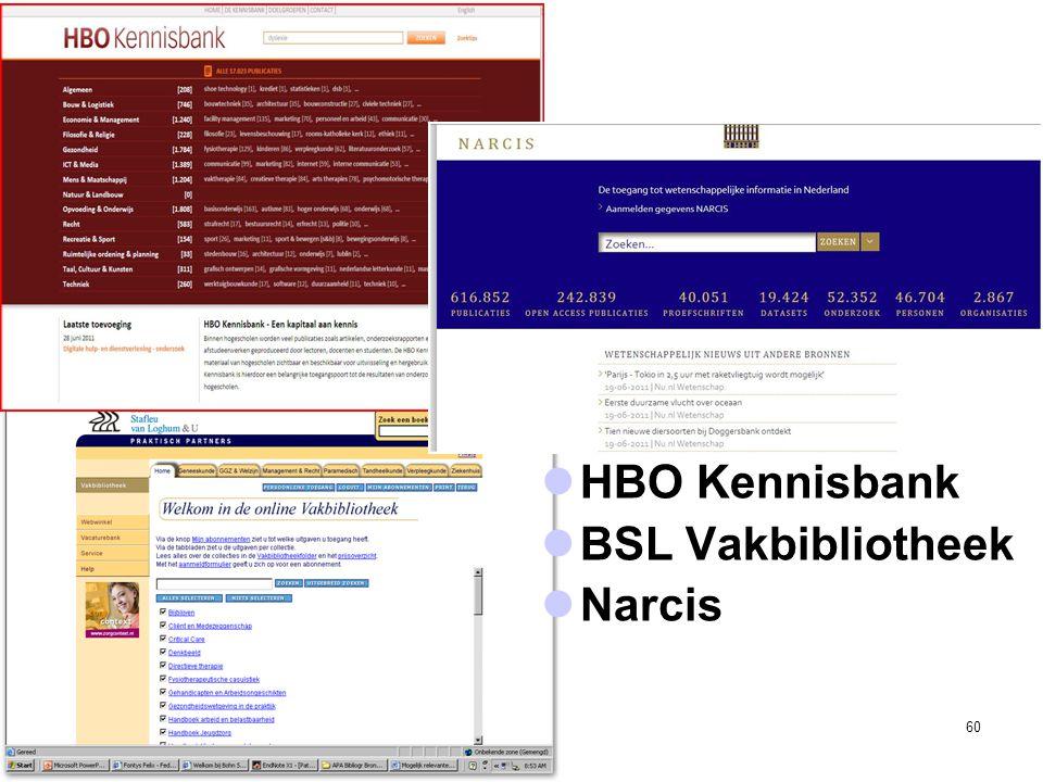 60  HBO Kennisbank  BSL Vakbibliotheek  Narcis