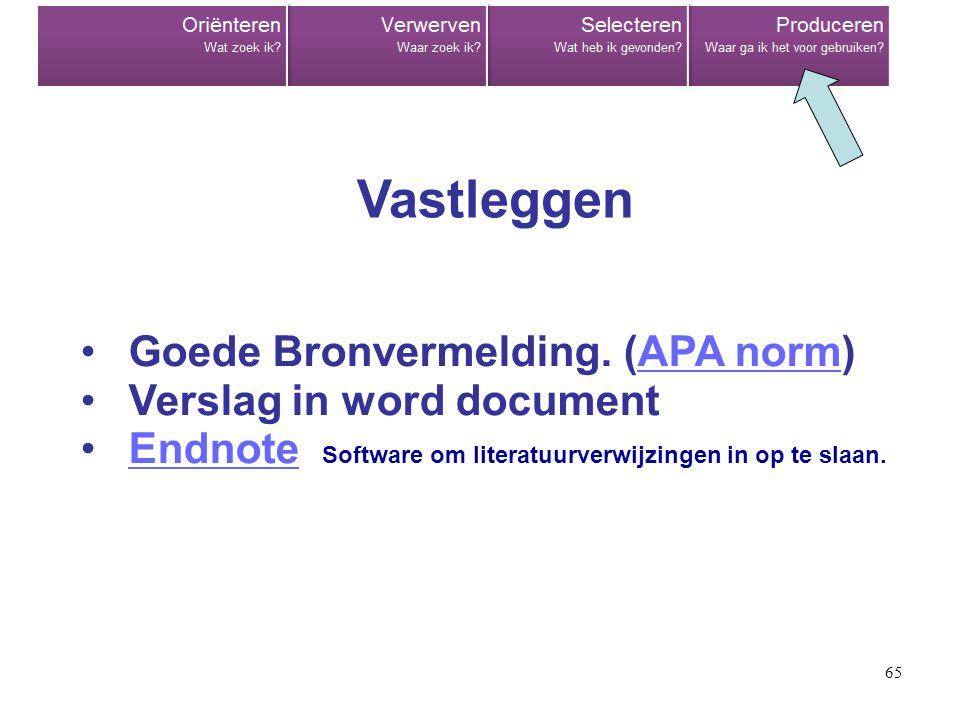65 •Goede Bronvermelding. (APA norm)APA norm •Verslag in word document •Endnote Software om literatuurverwijzingen in op te slaan.Endnote Vastleggen