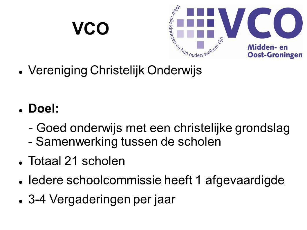 VCO  Vereniging Christelijk Onderwijs  Doel: - Goed onderwijs met een christelijke grondslag - Samenwerking tussen de scholen  Totaal 21 scholen  Iedere schoolcommissie heeft 1 afgevaardigde  3-4 Vergaderingen per jaar