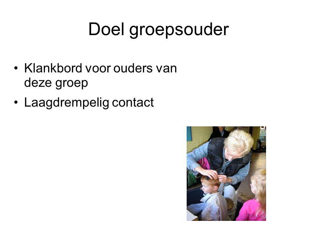 Doel groepsouder •Klankbord voor ouders van deze groep •Laagdrempelig contact