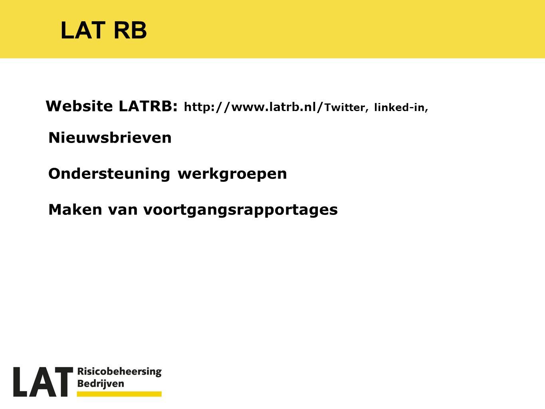 LAT RB Website LATRB: http://www.latrb.nl/ Twitter, linked-in, Nieuwsbrieven Ondersteuning werkgroepen Maken van voortgangsrapportages
