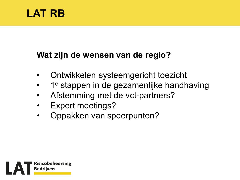 LAT RB Wat zijn de wensen van de regio.