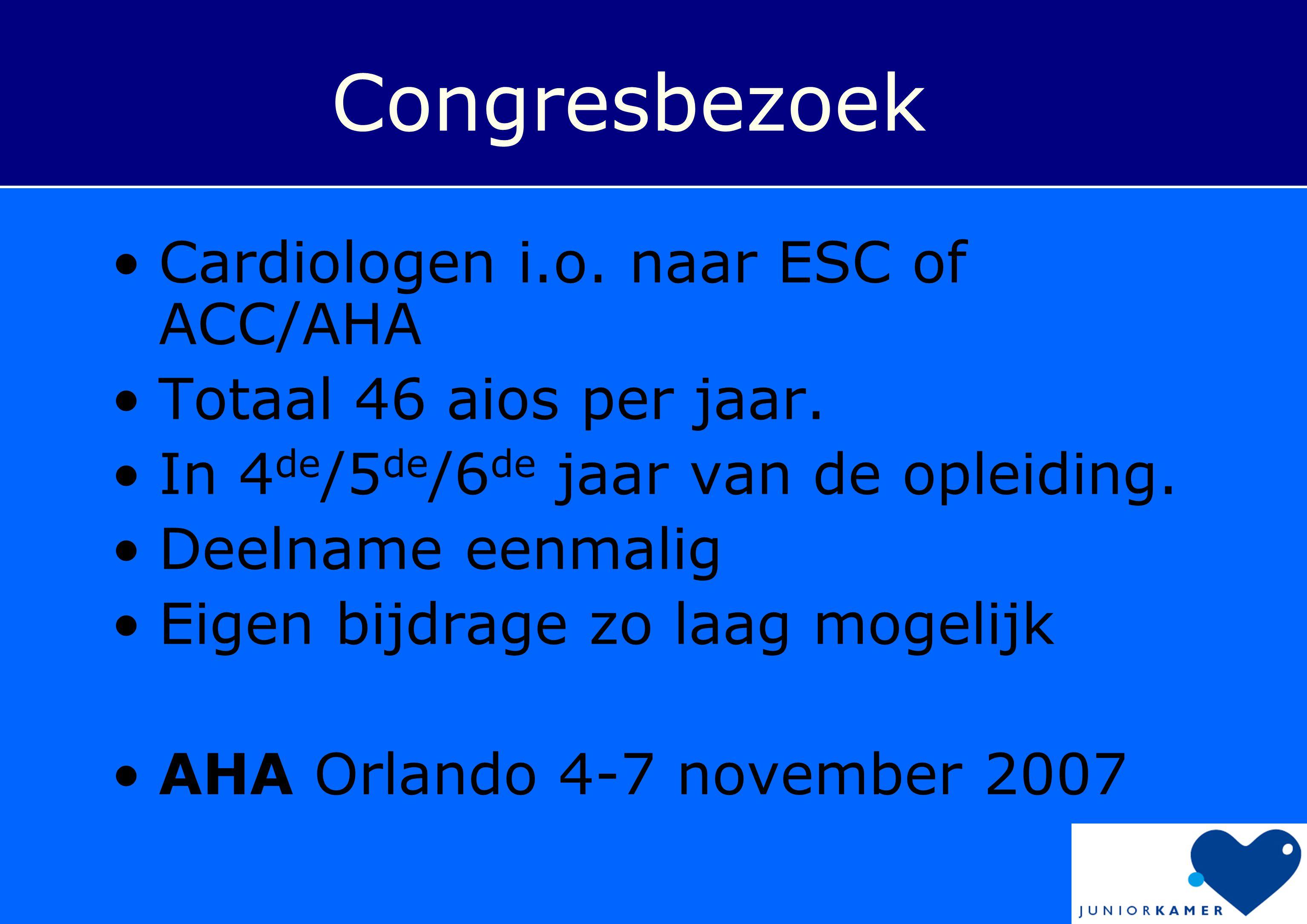 Congresbezoek •Cardiologen i.o. naar ESC of ACC/AHA •Totaal 46 aios per jaar. •In 4 de /5 de /6 de jaar van de opleiding. •Deelname eenmalig •Eigen bi