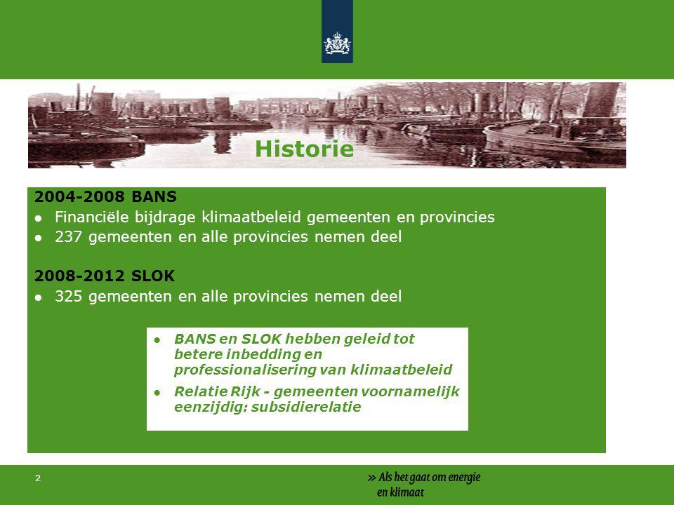 2 Historie 2004-2008 BANS ●Financiële bijdrage klimaatbeleid gemeenten en provincies ●237 gemeenten en alle provincies nemen deel 2008-2012 SLOK ●325