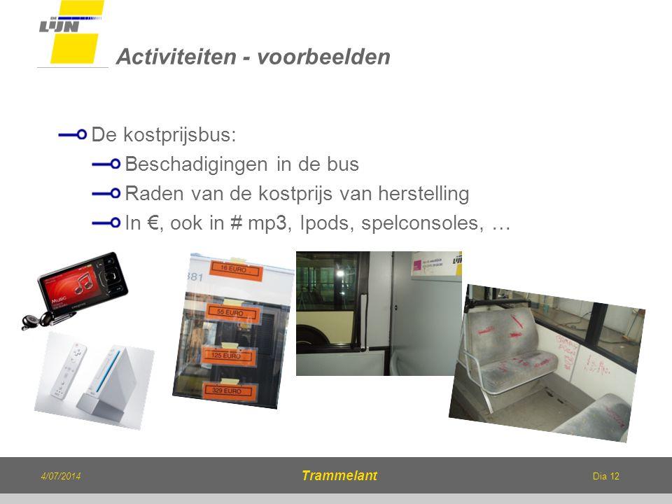 Dia 12 De kostprijsbus: Beschadigingen in de bus Raden van de kostprijs van herstelling In €, ook in # mp3, Ipods, spelconsoles, … Activiteiten - voor