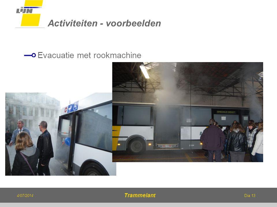 Dia 13 Evacuatie met rookmachine Activiteiten - voorbeelden 4/07/2014 Trammelant