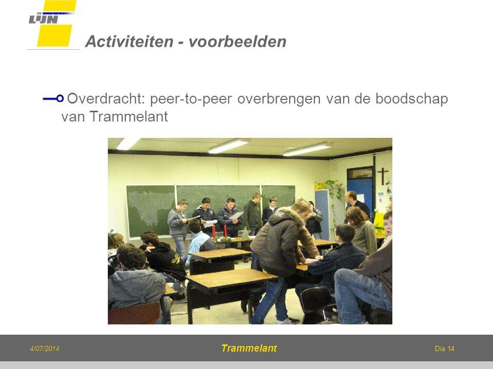 Dia 14 Overdracht: peer-to-peer overbrengen van de boodschap van Trammelant Activiteiten - voorbeelden 4/07/2014 Trammelant