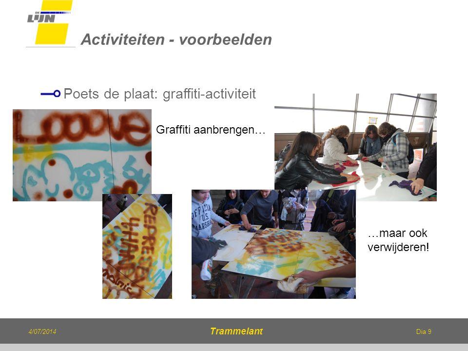 Dia 9 Poets de plaat: graffiti-activiteit Activiteiten - voorbeelden 4/07/2014 Trammelant Graffiti aanbrengen… …maar ook verwijderen!