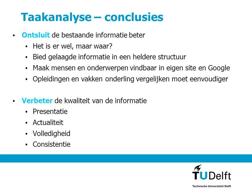 Taakanalyse – conclusies • Ontsluit de bestaande informatie beter • Het is er wel, maar waar? • Bied gelaagde informatie in een heldere structuur • Ma