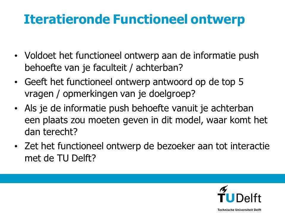 Iteratieronde Functioneel ontwerp • Voldoet het functioneel ontwerp aan de informatie push behoefte van je faculteit / achterban? • Geeft het function