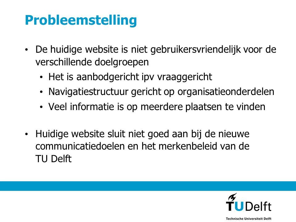 Doelstellingen TU Delft website • Bijdragen aan de reputatie van de TU Delft; • Versterken van het internationale karakter van de TU Delft • Tonen van de maatschappelijke betrokkenheid van de TU Delft • Op een transparante wijze presenteren van missie, taken, organisatiestructuur en activiteiten van de TU Delft