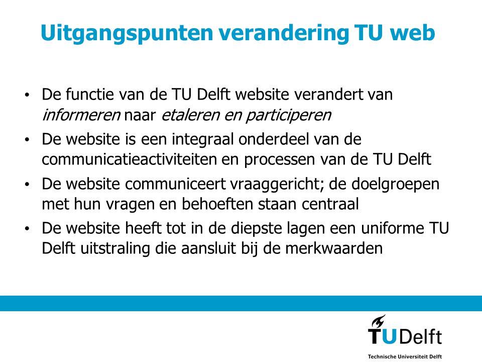 Uitgangspunten verandering TU web • De functie van de TU Delft website verandert van informeren naar etaleren en participeren • De website is een inte