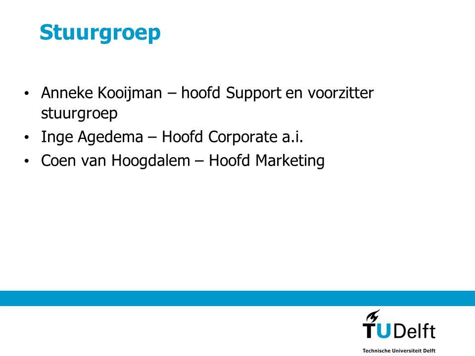 Stuurgroep • Anneke Kooijman – hoofd Support en voorzitter stuurgroep • Inge Agedema – Hoofd Corporate a.i. • Coen van Hoogdalem – Hoofd Marketing