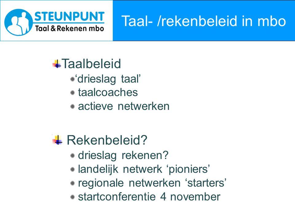 Taal- /rekenbeleid in mbo Taalbeleid 'drieslag taal' taalcoaches actieve netwerken Rekenbeleid? drieslag rekenen? landelijk netwerk 'pioniers' regiona