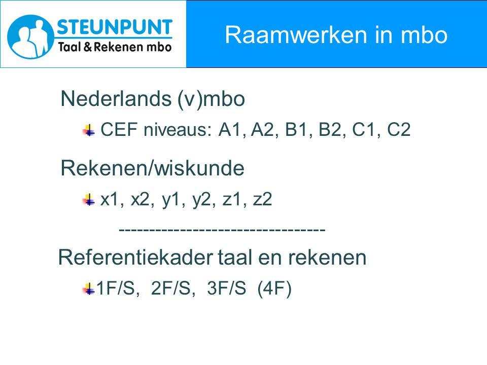 Nieuwe regelgeving (1) Algemeen verplicht: Nederlandse taal en rekenen alle mbo-opleidingen vanaf cohort 2010 Engels alle niveau-4 opleidingen vanaf cohort 2010 (2011) Niveaus referentiekader vanaf KD's 2010 niveau 1,2, en 3 opleidingen: 2F niveau 4 opl.: 3F (als havo, m.u.v.