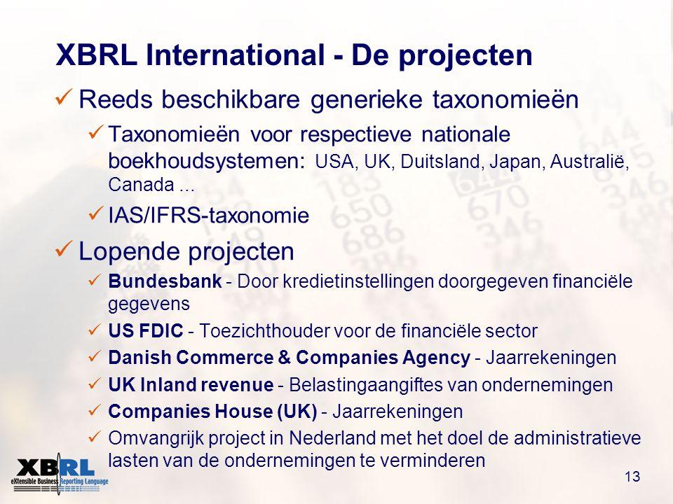 13 XBRL International - De projecten  Reeds beschikbare generieke taxonomieën  Taxonomieën voor respectieve nationale boekhoudsystemen: USA, UK, Duitsland, Japan, Australië, Canada...