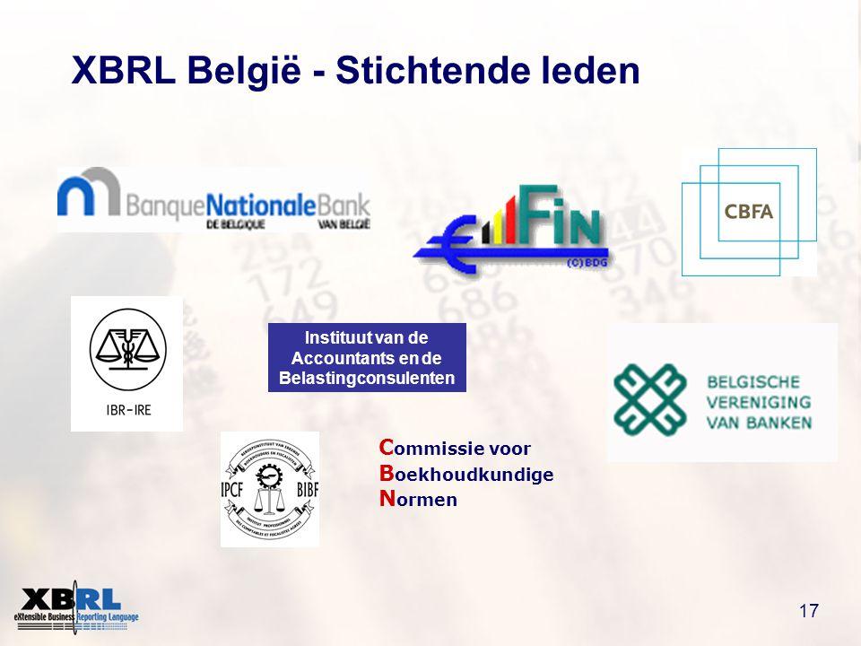 17 XBRL België - Stichtende leden C ommissie voor B oekhoudkundige N ormen Instituut van de Accountants en de Belastingconsulenten