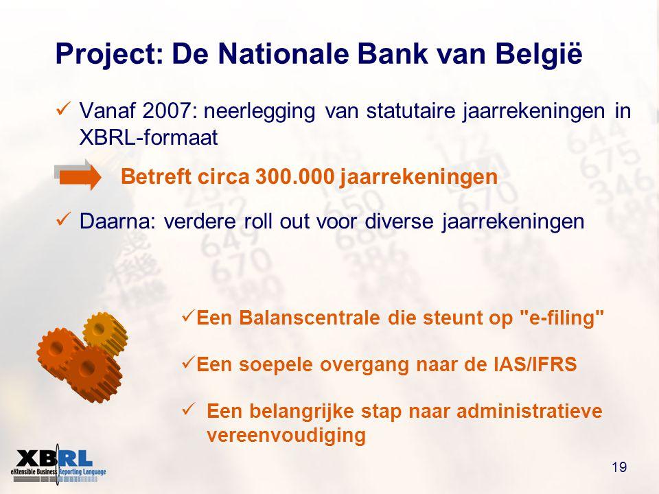 19 Project: De Nationale Bank van België  Vanaf 2007: neerlegging van statutaire jaarrekeningen in XBRL-formaat Betreft circa 300.000 jaarrekeningen  Daarna: verdere roll out voor diverse jaarrekeningen  Een Balanscentrale die steunt op e-filing  Een soepele overgang naar de IAS/IFRS  Een belangrijke stap naar administratieve vereenvoudiging