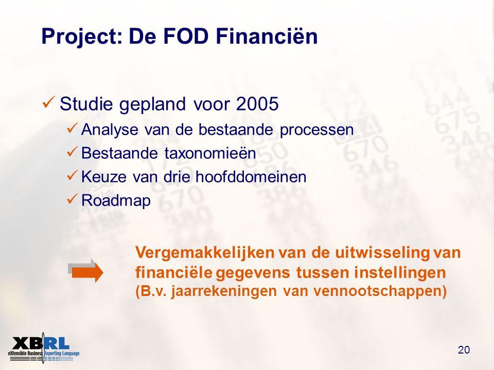 20 Project: De FOD Financiën  Studie gepland voor 2005  Analyse van de bestaande processen  Bestaande taxonomieën  Keuze van drie hoofddomeinen  Roadmap Vergemakkelijken van de uitwisseling van financiële gegevens tussen instellingen (B.v.