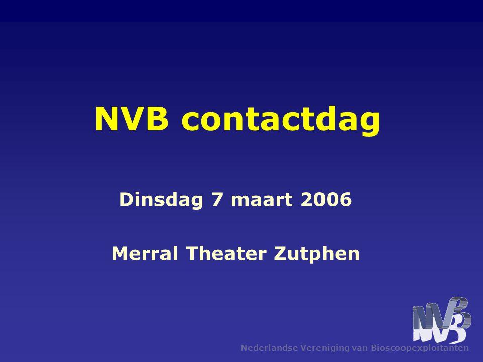 Nederlandse Vereniging van Bioscoopexploitanten NVB contactdag Dinsdag 7 maart 2006 Merral Theater Zutphen