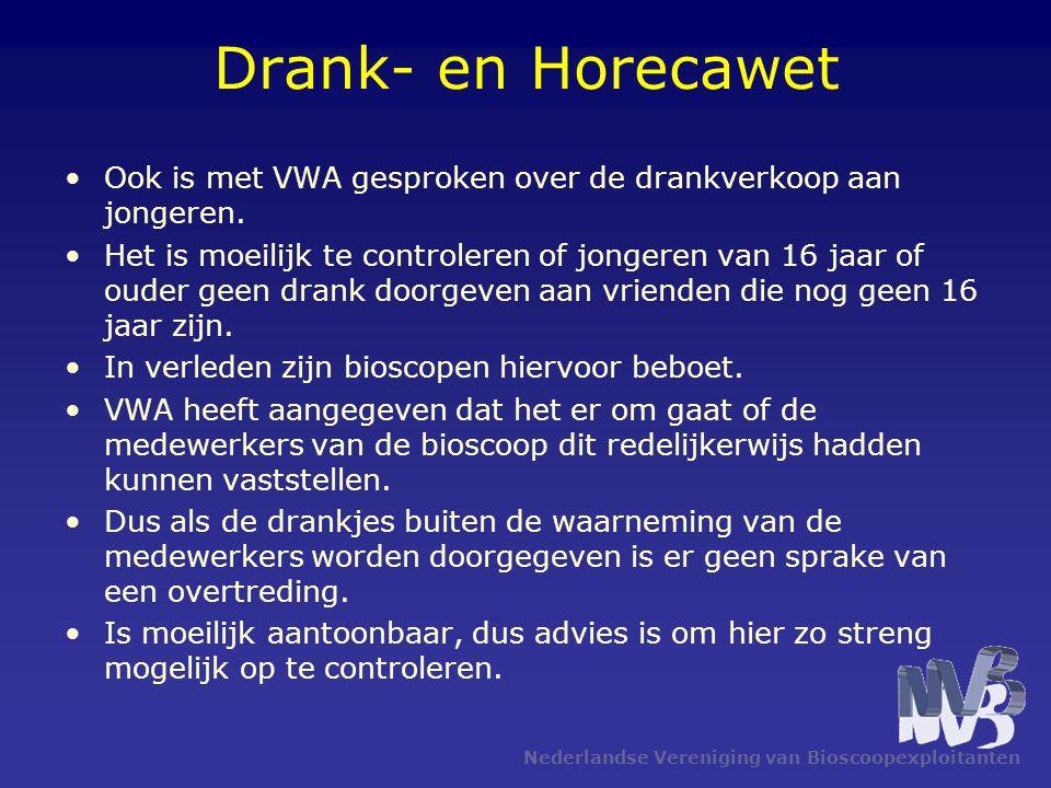 Nederlandse Vereniging van Bioscoopexploitanten Drank- en Horecawet •Ook is met VWA gesproken over de drankverkoop aan jongeren. •Het is moeilijk te c