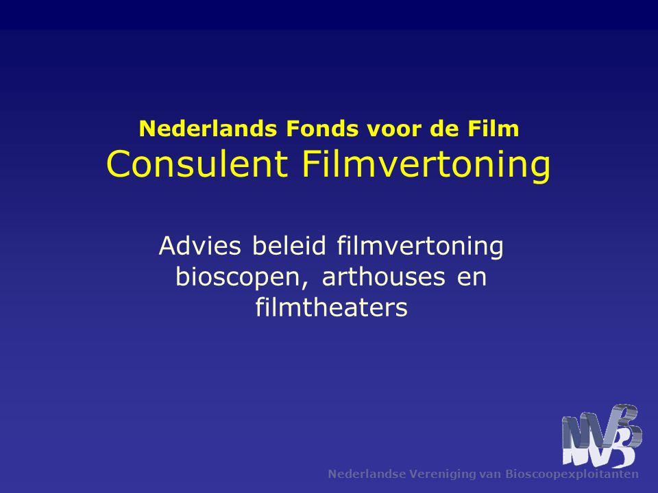 Nederlandse Vereniging van Bioscoopexploitanten Nederlands Fonds voor de Film Consulent Filmvertoning Advies beleid filmvertoning bioscopen, arthouses
