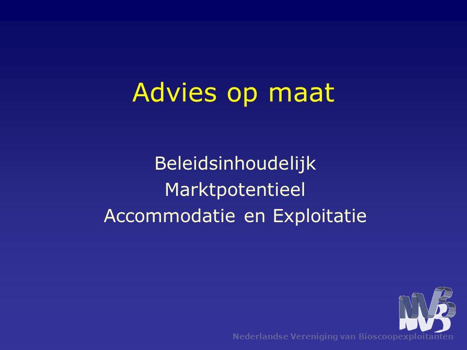 Nederlandse Vereniging van Bioscoopexploitanten Advies op maat Beleidsinhoudelijk Marktpotentieel Accommodatie en Exploitatie