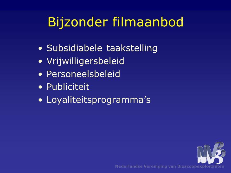 Nederlandse Vereniging van Bioscoopexploitanten Bijzonder filmaanbod •Subsidiabele taakstelling •Vrijwilligersbeleid •Personeelsbeleid •Publiciteit •L