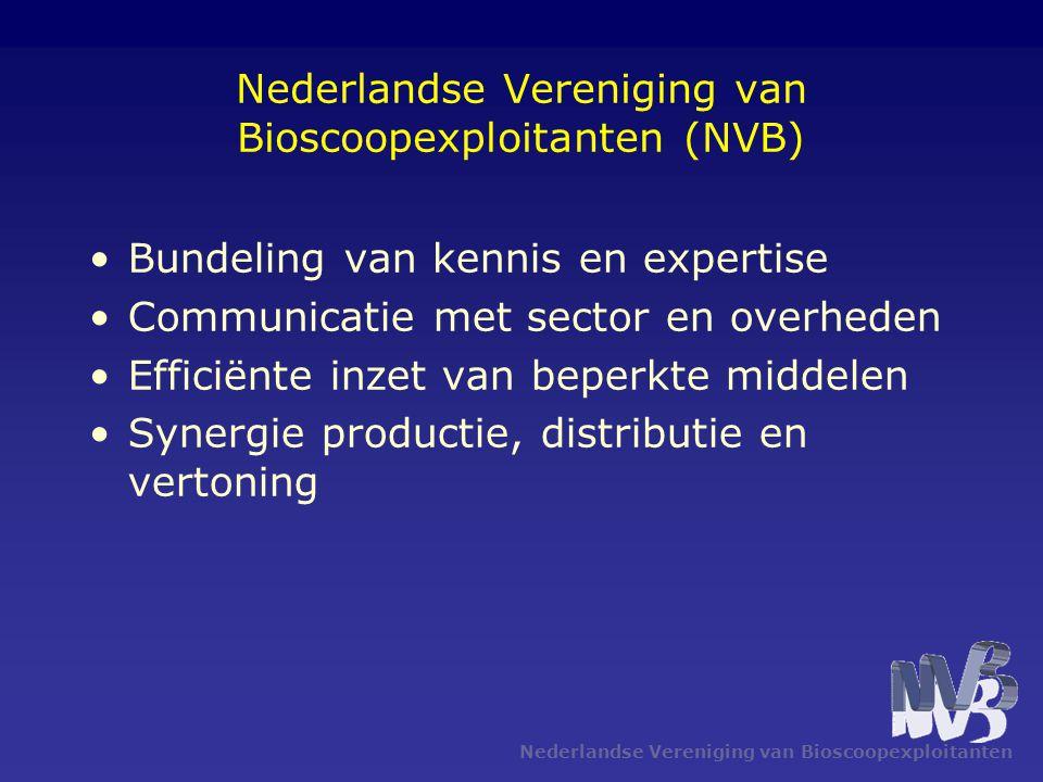 Nederlandse Vereniging van Bioscoopexploitanten Nederlandse Vereniging van Bioscoopexploitanten (NVB) •Bundeling van kennis en expertise •Communicatie